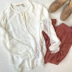 J. Jill Embroidered Cream Colored Blouse